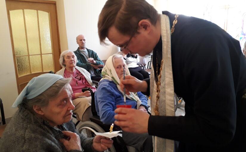 Таинство Елеосвящения в доме престарелых в Антавиляй